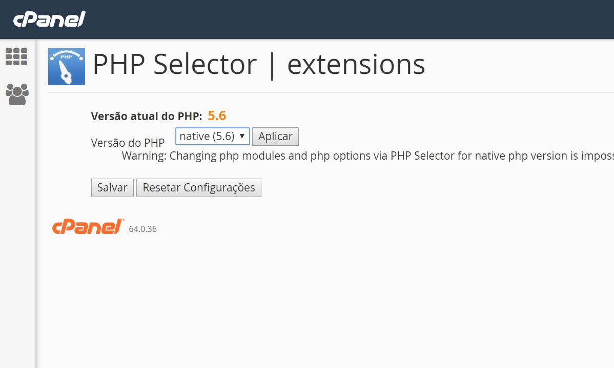 Alterar versão do PHP no Cpanel